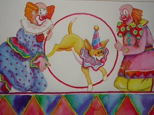 Clowns with dog art