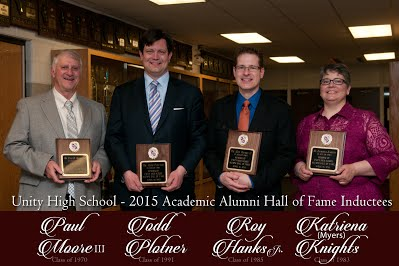 A picture of the 2015 Unity High School hall of fame inductees