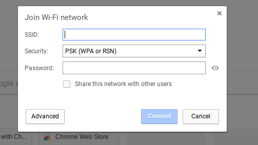 Open the network connection settings and add a new network Click on Advanced
