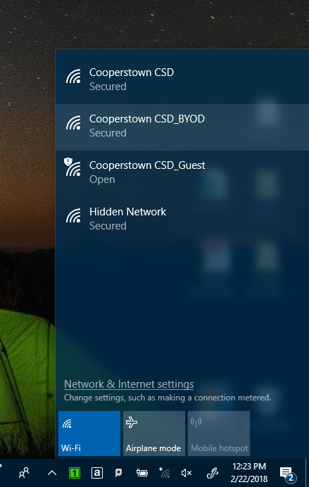Click the network connections icon