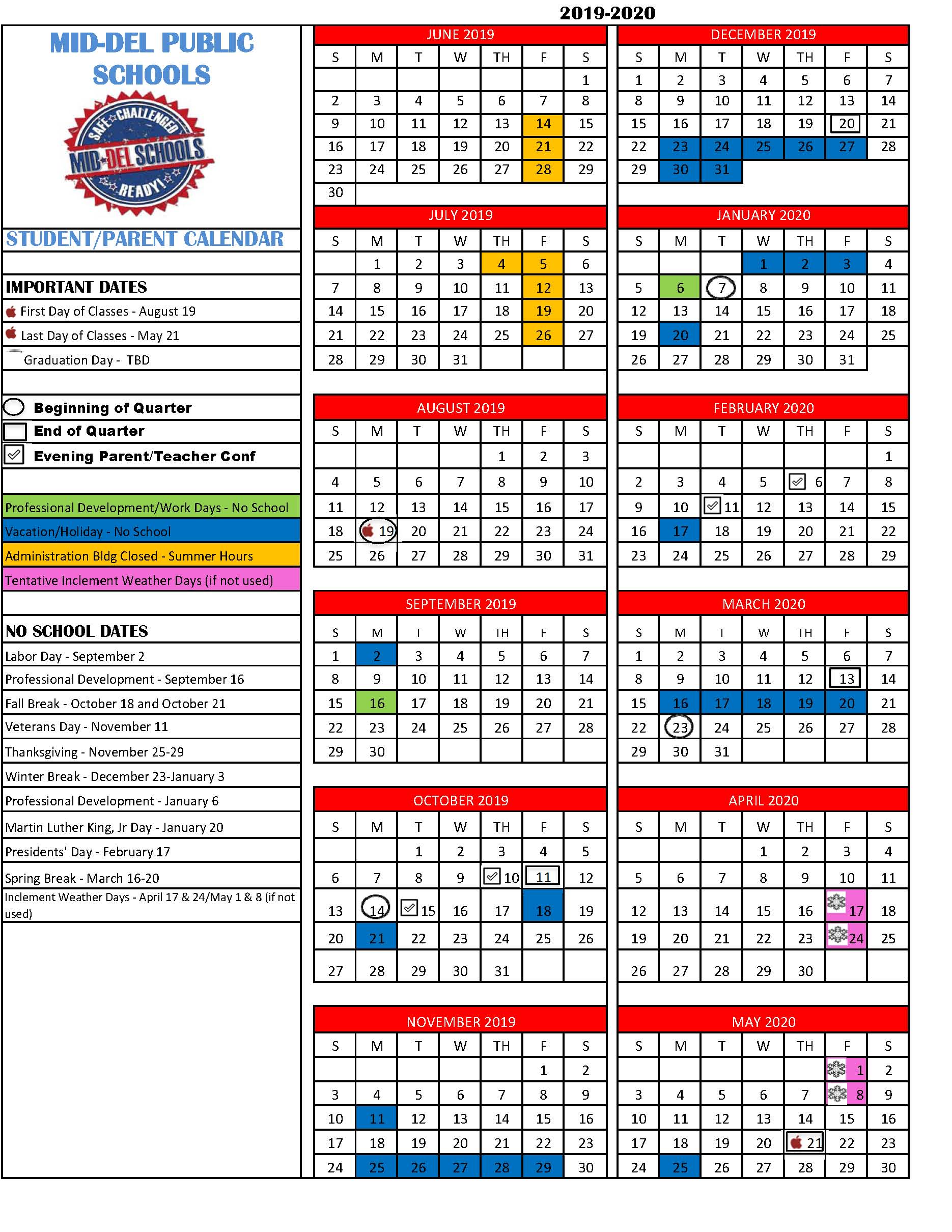 Calendario Estate 2020.Mid Del School District