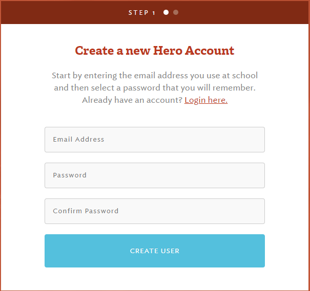 Screenshot of Hero Creating an account